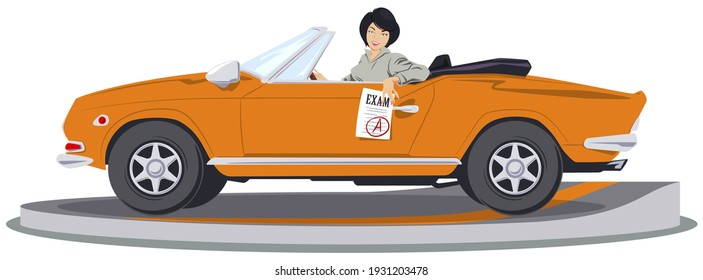 Beautiful woman at driving lesson. Driver's license. Illustration concept for mobile website and internet development.
