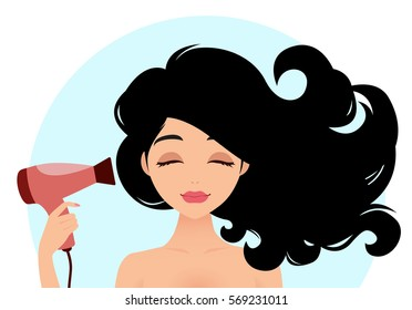 Beautiful woman drying her hair with hairdryer. Vector illustration