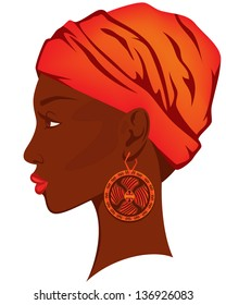 beautiful woman with earring - bright portrait of african american beauty