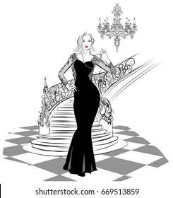 beautiful woman in evening dress - vector illustration