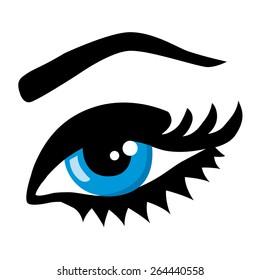 Beautiful woman eye open. Vector monochrome illustration