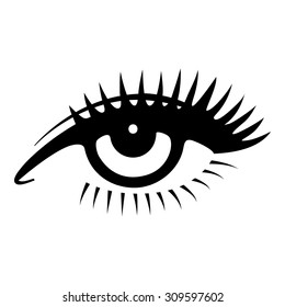 Beautiful woman eye. Vector illustration. Ink drawing.