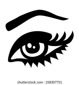 Beautiful woman eye. Vector monochrome illustration