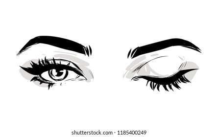 Beautiful woman eyes black and white drawing sketch. Vector fashion illustration.