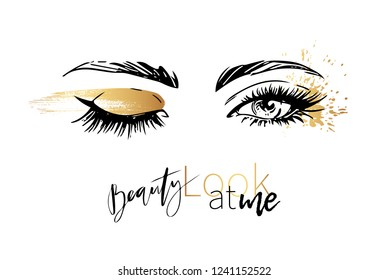 Beautiful woman eyes with sparkle gold eyeshadow party makeup vector fashion illustration. Hand drawn line art sketch for mascara and eyeliner cosmetic products sale banner background design.