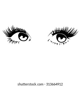 Beautiful woman eyes. Vector illustration. Ink drawing.