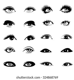 Beautiful woman eyes. Vector illustration. Ink drawing. Black and white. Set.