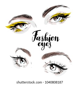 Beautiful woman eyes vector set isolated drawn in watercolor and ink line style for fashion card design.