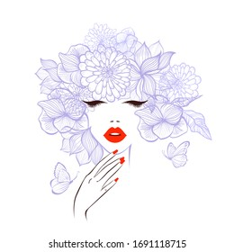 Beautiful woman face with diadem flowers around, red lips, red manicure nails. Beauty Logo. Vector illustration, butterflies, floral motive, abstract flowers, spa salon, nails studio. Spa salon logo.