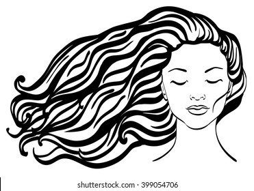 Beautiful woman face in front with long wavy hair. Front girl face.  Line drawings. Fashion Vector illustration for spa, beauty salon, hairdressing, shampoo advertisement