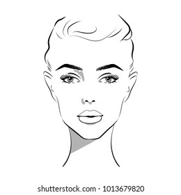 Beautiful woman face hand drawn vector illustration. Stylish original graphics portrait with beautiful young attractive girl model. Fashion, style, beauty. Graphic, sketch drawing. Sexy woman