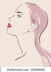 beautiful woman face hand drawn vector illustration eps 10