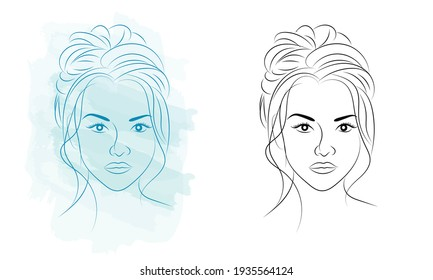 Beautiful woman face with hand drawn vector illustration. Stylish original graphics portrait with beautiful young attractive girl model. Fashion, style, beauty. Graphic, sketch drawing.