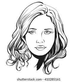 beautiful woman face hand drawn vector illustration sketch