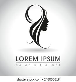 Beautiful woman face logo sample, vector illustration