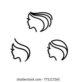 Beautiful woman face logos