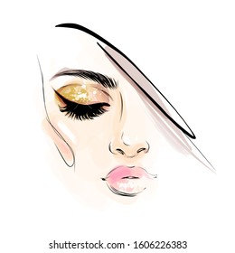 Beautiful woman face makeup with closed eye vector illustration for cosmetics sale banner design. Fashion girl with smoky eyes, pink lips and blush portrait drawing isolated on white background.