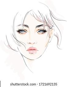 Beautiful woman face makeup vector drawing sketch. Pure natural make up  portrait.