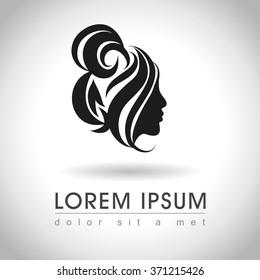 Beautiful woman face with messy bun logo sample, vector illustration