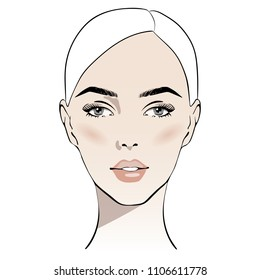Beautiful woman face with nude make-up hand drawn vector illustration. Stylish original graphics portrait with beautiful young attractive girl model. Fashion, style, beauty. Graphic, sketch drawing.