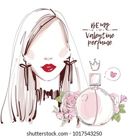 Beautiful woman face with red lips and  perfume bottle with rose flowers on white background drawn in watercolor style for valentine sale banner or march 8 shopping card design, poster, invitation.