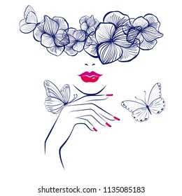 Beautiful woman face red lips, hand with red manicure nails. Beauty Logo. Vector illustration, diadem flowers, butterflies, floral motive, abstract flowers, spa salon, sign, symbol, nails studio.