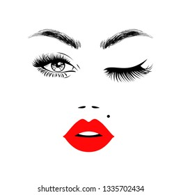 Beautiful woman face with red lips, eyebrows and lush eyelashes, one open eye and other closed, sexy birthmark. Beauty Logo. Vector illustration.