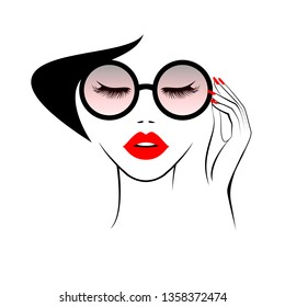 Beautiful woman face with red lips, lush eyelashes, hand with red manicure nails keeping glasses. Beauty Logo. Vector illustration