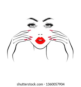 Beautiful woman face with red lips, lush eyelashes, hands with red manicure nails, making massage. Beauty Logo. Vector illustration.