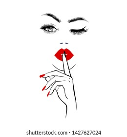 Beautiful woman face with red lips, lush eyelashes, one eye open one closed, hand with red manicure nails. Spa salon. Beauty Logo. Vector illustration