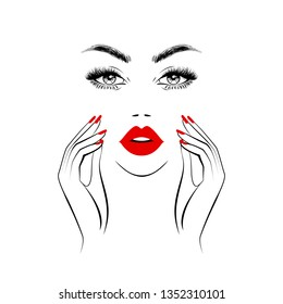 Beautiful woman face, sexy red lips, hands with red manicure nails, element design, nails studio. Beauty Logo. Healthcare, young woman face beauty with clean fresh skin. Vector illustration.