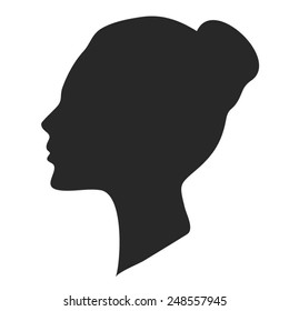 Beautiful woman face silhouette, vector eps illustration.