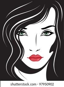 beautiful woman face. Vector illustration.