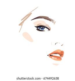 Beautiful woman face wearing makeup. Vector illustration eps 10