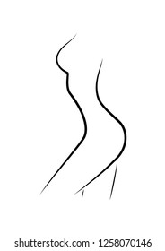 beautiful woman figure side view, outline style, isolated on the white background, vertical vector illustration