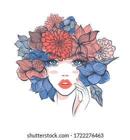 Beautiful woman with floral headdress in spring for Beauty salon logo, wedding, anniversary. Hand drawn beautiful young woman in flower wreath. Design for banner, poster, card, invitation.