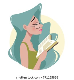 Beautiful woman in glasses and green dress is reading a book. The student is studying. Blue hair. Cartoon style, flat vector illustration.