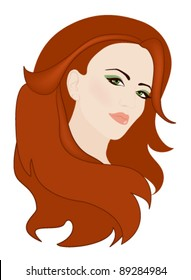 beautiful woman with gorgeous red hair ector illustration