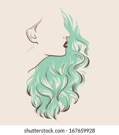 beautiful woman with hair style sketch vector illustration eps 10