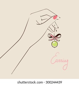 Beautiful woman hand holding jewelry . Vector illustration eps 10