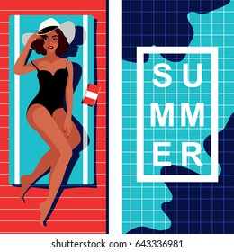 Beautiful woman in hat lying on the beach towel near swimming pool. Top view of pretty girl in black swimsuit sunbathing beside water pool. Summer vacation concept, vogue style poster template. Vector