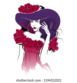 Beautiful woman in hat, print, isolated vector illustration.