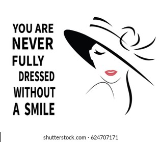 Beautiful Woman in hat with quote. Vector
