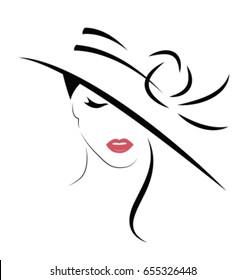 Beautiful Woman in hat. Vector