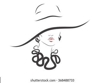 Beautiful woman with hat. vector fashion illustration