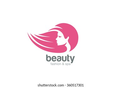 Beautiful woman head abstract Logo design vector template Negative space style. Beauty salon cosmetics spa hair Logotype concept icon.