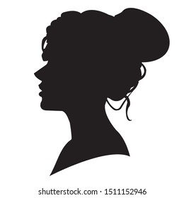 Beautiful woman head silhouette isolated on white background beauty concept