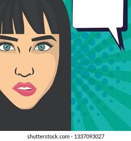 beautiful woman head with speech bubble pop art style
