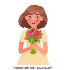 Beautiful woman holding a bouquet of flowers in his hands on a white background. Happy women's day. 8 March. Vector illustration in cartoon style