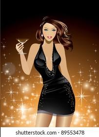 Beautiful Woman Holding Cosmopolitan Cocktail